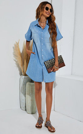 Button Down Mini Shirt Denim Dress In Blue by FS Collection