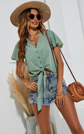 Cute Tie Knot Front Buttoned Crop T Shirt Top In Green & White Dot Print by FS Collection