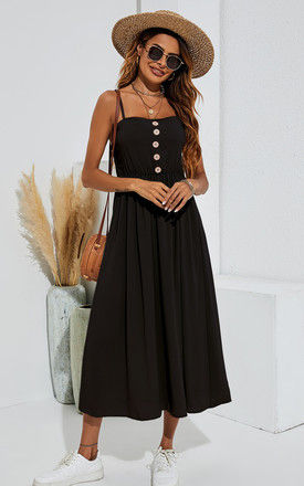 Button Down Strappy Midi Dress In Black by FS Collection