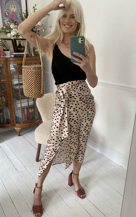 Animal Dot Midi Wrap Skirt in Champagne by D.Anna