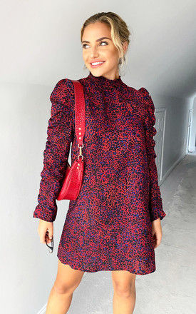 Red Printed Ruched Sleeve Dress by AX Paris