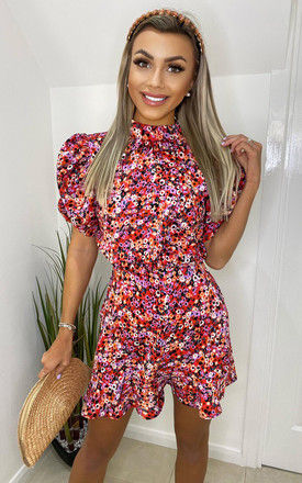 Red Abstract Floral Puff Sleeve Skater Dress by AX Paris