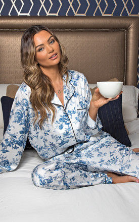 Silky Luxe White and Blue Floral Satin Pyjama Set by Sienna London