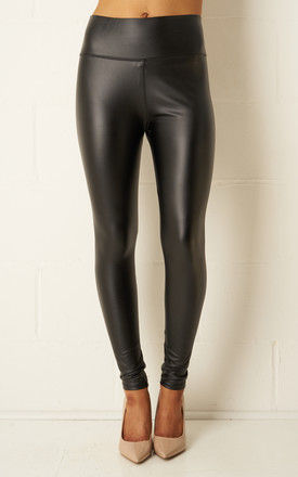 Kayla Black Faux Leather High Waist Leggings by love frontrow