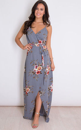 Mia Floral Wrap Maxi Grey by Girl In Mind