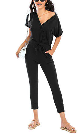 Stretch Wrap Jumpsuit With V Neck In Black by FS Collection