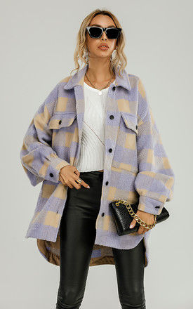 Brushed Check Oversized Pocket Detail Shacket Shirt Jacket In Purple & Cream by FS Collection