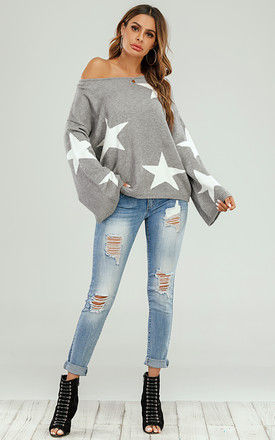 Wide Sleeve Oversize Grey Jumper With White Star by FS Collection
