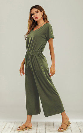 Olive Green Loose Jumpsuit With Short Sleeve by FS Collection