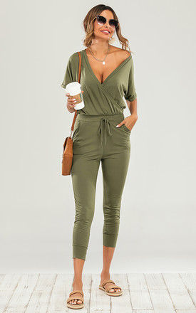 Stretch Wrap Jumpsuit With V Neck In Olive Green by FS Collection