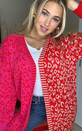 Quinn Mixed Print Long Cardigan Red/Pink by Girl In Mind