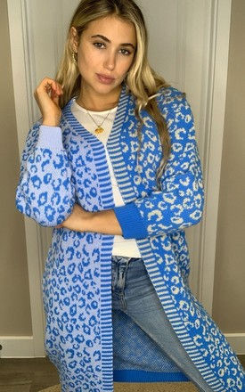 Quinn Mixed Print Long Cardigan Blue/Beige by Girl In Mind