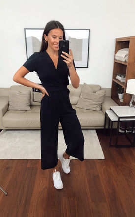 Exclusive Megan Short Sleeve Culotte Jumpsuit In Navy by Girl In Mind