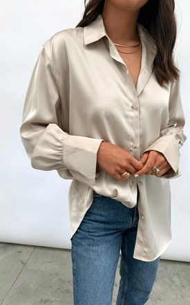 Naomi Relaxed Shirt - Taupe by Pretty Lavish