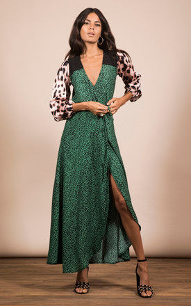 JAGGER DRESS IN SMALL GREEN LEOPARD MIX PRINT by Dancing Leopard