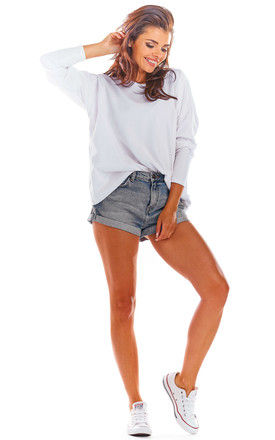 Oversized Long Sleeve Top with Low Back in White by AWAMA
