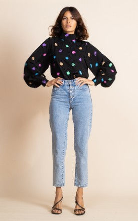 Margo Pintuck Blouse in Vintage Dots by Dancing Leopard