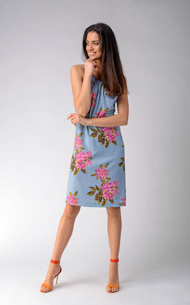 Sleeveless Mini Dress with Belt in Blue Floral Print by Bergamo