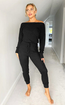 Black Knitted Long Sleeve Jumpsuit by AX Paris