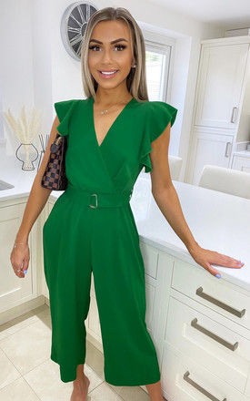 Green Wrap Front Belted Jumpsuit by AX Paris