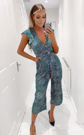 Green Spotted Belted Wrap Jumpsuit by AX Paris