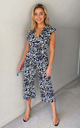 Blue Printed Belted Wrap Jumpsuit by AX Paris