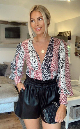 V-NECK BLOUSE IN MIXED ANIMAL PRINT by Phoenix & Feather