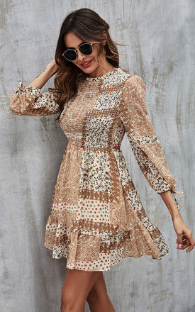 Elasticated detail Mini Dress In Beige Paisley Print by FS Collection
