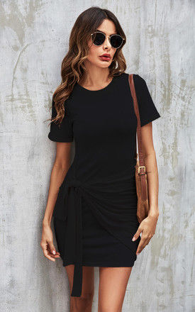 Knot Tie Front Tshirt Dress In Black by FS Collection
