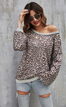 Grey Trims Animal Print Top In Chocolate Brown by FS Collection