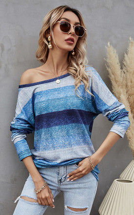 Navy & Green & Silver Grey Striped Top by FS Collection