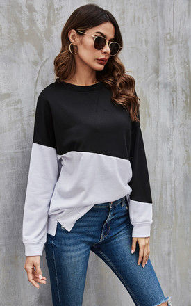Black & White Block Colour Top by FS Collection