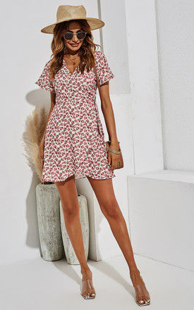 Summer Mini Wrap Dress In Pink Print by FS Collection