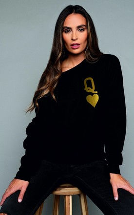 Queen of Hearts Black and Gold Sweatshirt by James Steward
