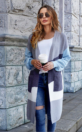 Light Blue & Grey & White Colour Block Midi Cardigan by FS Collection