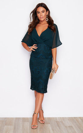 Joanna Wrap Lace Batwing Midi Dress Emerald Green by Girl In Mind