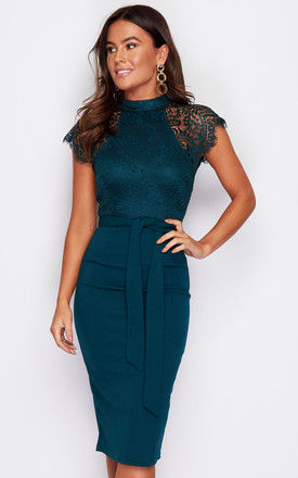 Lyla High Neck Lace Top Midi Dress Emerald Green by Girl In Mind
