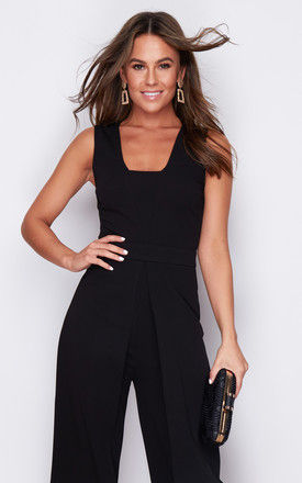 Harleen Double Layer Culotte Jumpsuit Black by Girl In Mind
