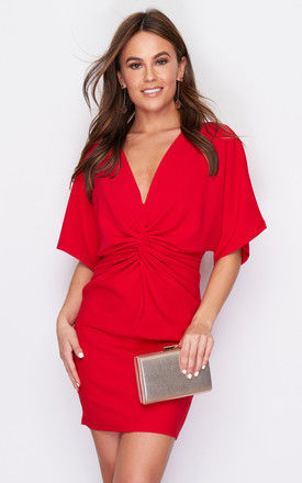 Gabby Twist Front Batwing Mini Dress Red by Girl In Mind