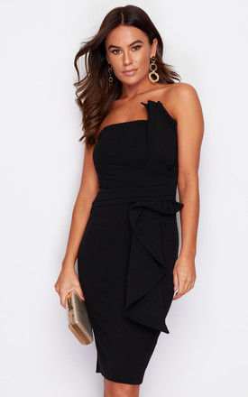 Giselle Bandeau Pleated Detail Midi Dress Black by Girl In Mind