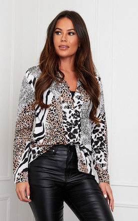 Carlie Long Sleeve Shirt White Animal Print by Girl In Mind
