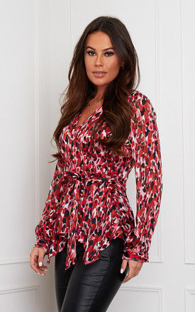 Poppy Wrap Neck Top Red Print by Girl In Mind