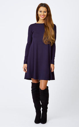 Navy Long Sleeve Swing Dress by Bella and Blue