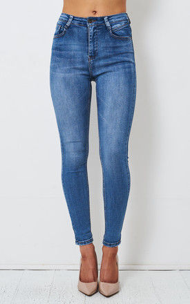 Morgan Blue High Waist Stretch Skinny Jeans by love frontrow