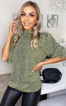 Olive Ditsy Leaf Print Elasticated Neck Top by AX Paris