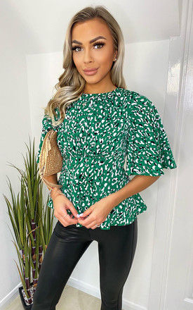 Green Abstract Printed Flared Blouse by AX Paris