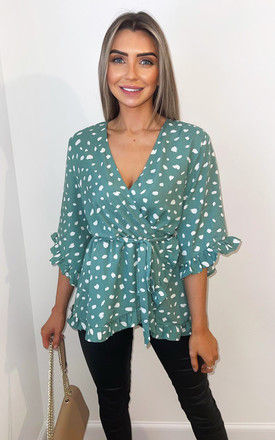 Green Printed Frill Sleeve Wrap Top by AX Paris