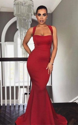 The 'Coco' Red Fishtail Maxi Dress by Rene K Couture