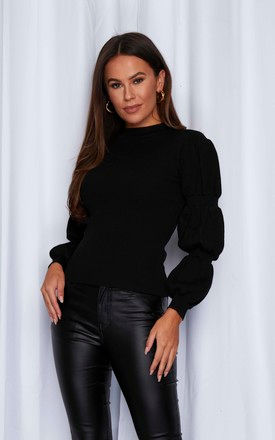 Nora Rib Knit Gathered Sleeve Black by Girl In Mind