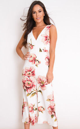 Polly Floral V Neck Culotte Jumpsuit White by Girl In Mind